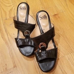 Sofft Patrice Leather Croc Sandal Black